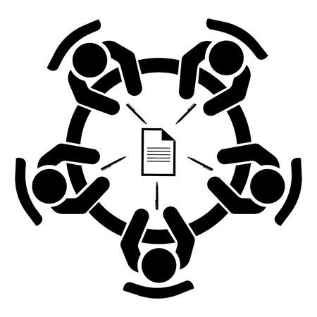 Incontro di lavoro, discussione. Attività di lavoro di squadra. Persone intorno al tavolo. Illustrazione vettoriale
