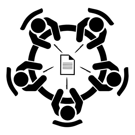 Reunión de negocios, discusión. Actividad de trabajo en equipo. Gente alrededor de la mesa. Ilustración vectorial