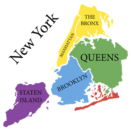 New York state. State of America territory on white background. Separate boroughs. Vector illustration