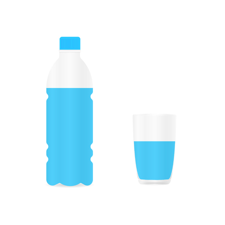 Bottle of water from plastic material and drinking glass of water. White background. Vector illustration