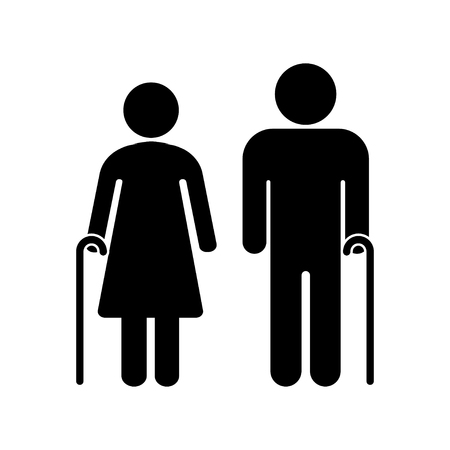 Senior couple with walking cane. Senior men and women. Vector illustration