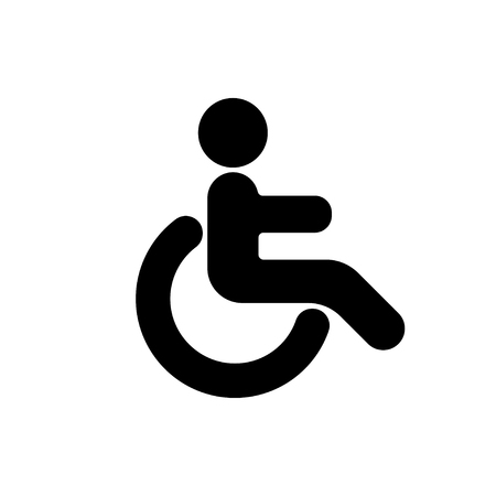 Person with disabilities and physical injury. Wheelchair sign. Vector illustration Stock Illustratie