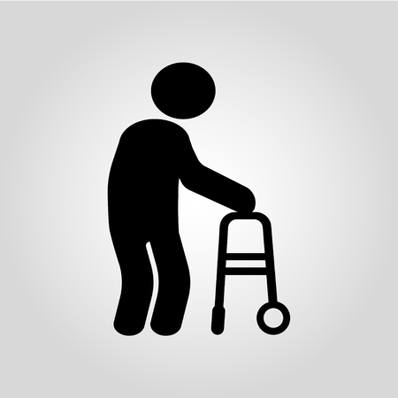 Person with disabilities and physical injury on gray background. Vector illustration Stock Illustratie