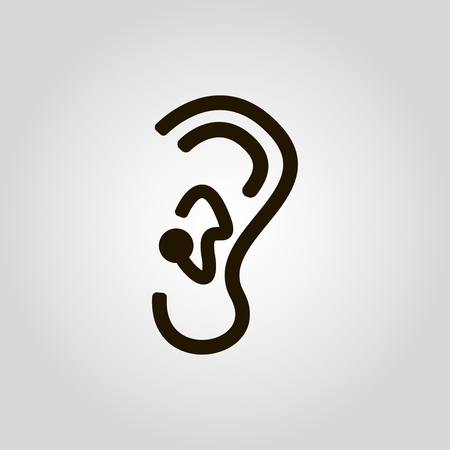 Human ear sign on gray background. Profile view. Vector illustration