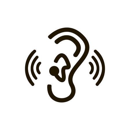 Human ear sign on white background. Profile view. Vector illustration Reklamní fotografie - 122010269