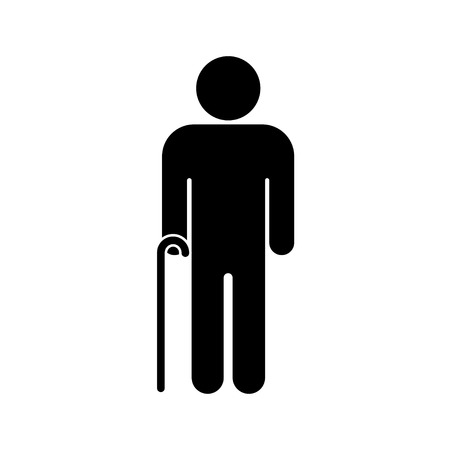 Senior men with walking cane. Elderly person on white background. Vector illustration
