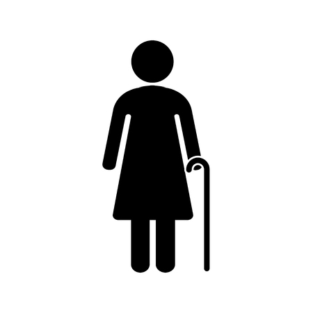 Senior women with walking cane. Elderly person on white background. Vector illustration Stock Illustratie