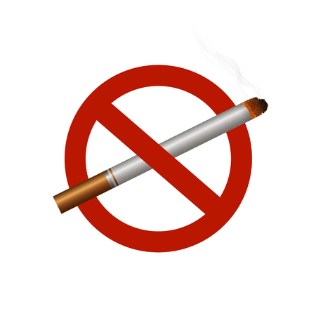 No smoking area. Smoking sign ban. Warning symbol. White background. Vector illustration