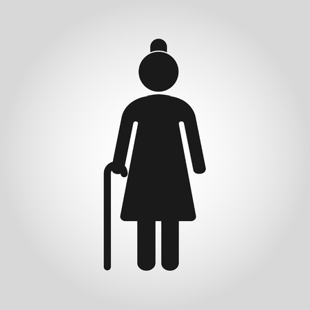Senior women with walking cane. Elderly person on gray background. Vector illustration