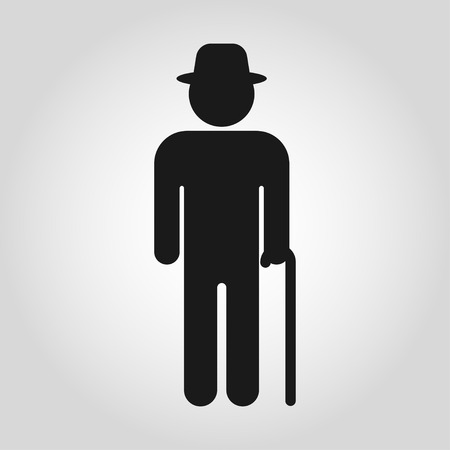 Senior men with walking cane. Elderly person on gray background. Vector illustration