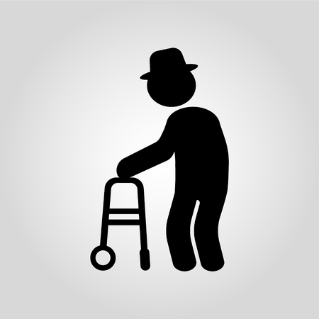 Senior person with disabilities and physical injury on gray background. Vector illustration