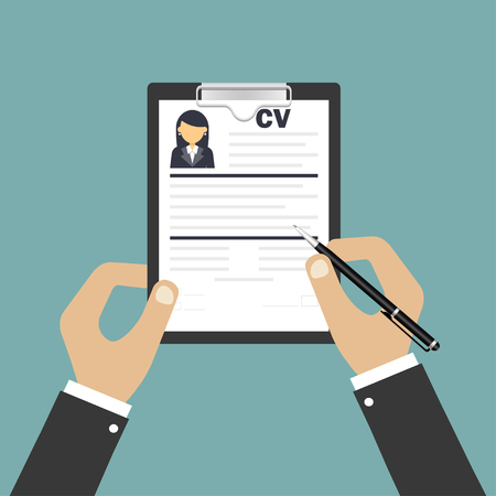 Human resources. Resume or curriculum vitae. Choice of person. Person suitable for the work. Vector illustration.