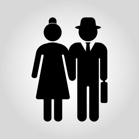 Senior couple are walking. Senior men and women. Vector illustration