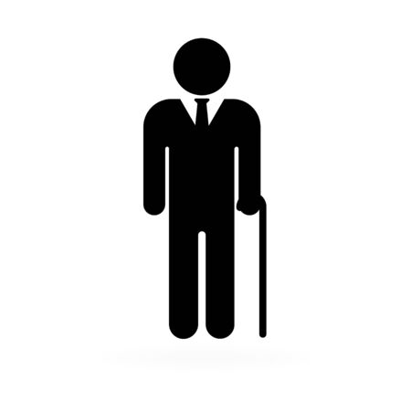Senior men with walking cane. Elderly person on white background. Business person. Vector illustration