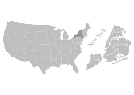 States of America territory on white background. Separate state. New York state. Separate boroughs. Vector illustration Ilustração