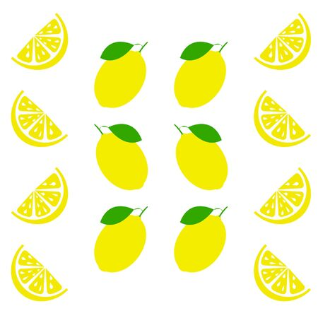 Fresh and juicy lemon with green leaf on white background. Vector illustration Stock Illustratie
