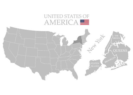 States of America territory on white background. Separate state. New York state. Separate boroughs. Vector illustration Ilustracja