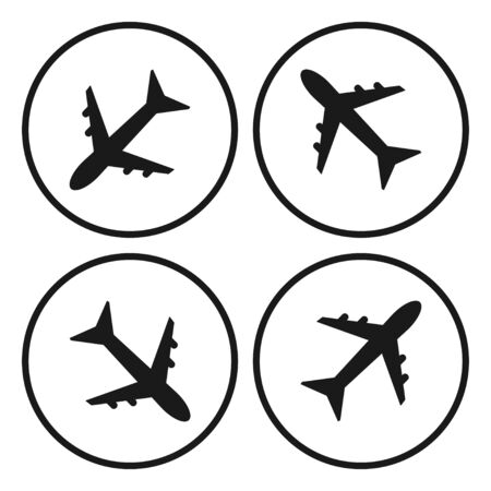 Airplane sign, symbol. Aircraft flying. White background. Vector illustration  イラスト・ベクター素材