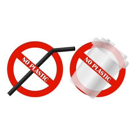 Disposable plastic cup and drinking straw. No plastic. Pollution problem. Say no to plastic products. Warning sign. Vector illustration Ilustração