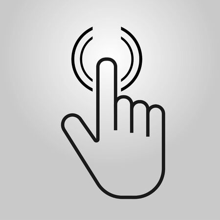 Push button. Hand icon on gray background. Cursor of computer mouse. Vector illustration