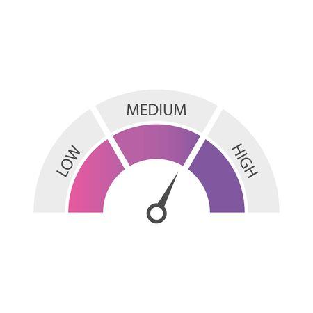 Speedometer, tachometer, indicator icons. Performance measurement. White background. Vector illustration
