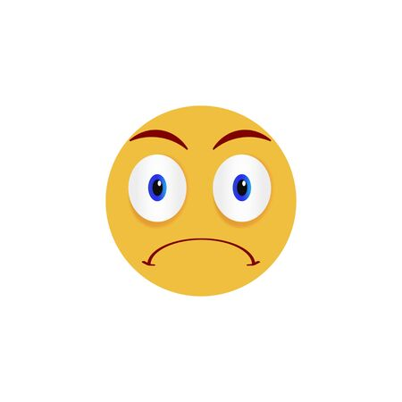 Angry face. Emoticon, emoji icon on white background. Vector illustration