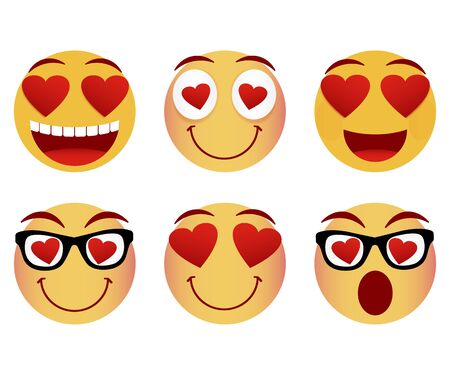 Collection of smiley faces. Emoticon, emoji icons on white background. Vector illustration