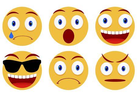 Sammlung von Smileys. Emoticon, Emoji-Symbole auf weißem Hintergrund. Vektor-Illustration Vektorgrafik