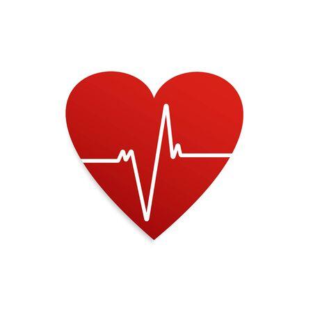Heartbeat. Heart shape icon. Cardiogram of heart. Vector illustration