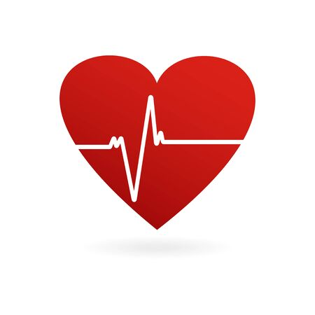 Heartbeat. Heart shape icon. Cardiogram of heart. Vector illustration