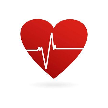 Heartbeat. Heart shape icon. Cardiogram of heart. Vector illustration Stock Vector - 128612376