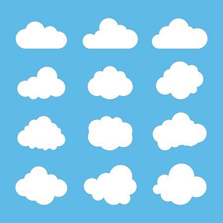 Cloud signs, Sky symbols. Blue background. Vector illustration