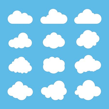 Signos de nubes, símbolos del cielo. Fondo azul. Ilustración vectorial