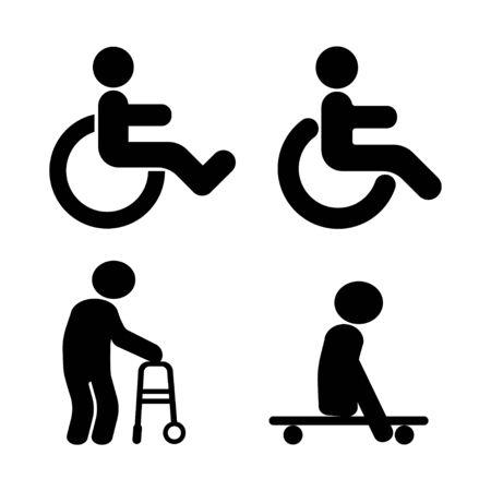 Persona con disabilità e simboli di lesioni fisiche. Segno di sedia a rotelle. Illustrazione vettoriale Vettoriali