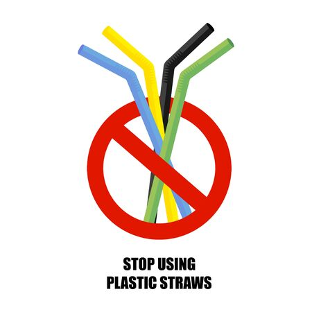 Plastic drinking straw. No plastic. Pollution problem. Environmental Protection. Say no to plastic products. Warning sign. Vector illustration
