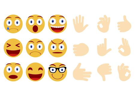 Collection of smiley and different faces. Emoticon, emoji icons on white background. Human hand gesturing. Vector illustration