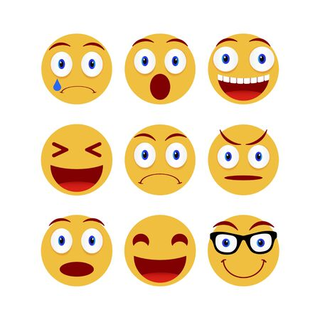 Collection of smiley and different faces. Emoticon, emoji icons on white background. Vector illustration  イラスト・ベクター素材