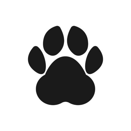 Paw print. Footprint silhouette on white background. Vector illustration