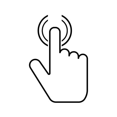 Push button. Hand icon on white background. Cursor of computer mouse. Vector illustration