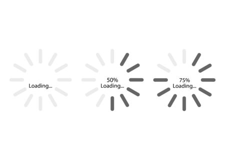 Loading progress bar. Circle shape. 50% and 75% loading. White background. Vector illustration