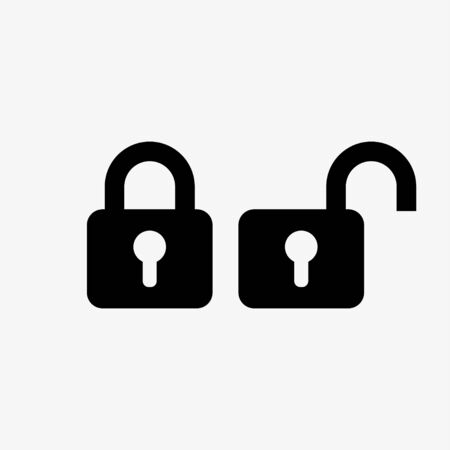 Closed and opened doorlock, padlock signs. Vector illustration Stock Illustratie