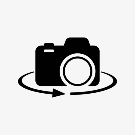 Camera-photographic equipment. 360-degree view. Vector illustration Stock Illustratie