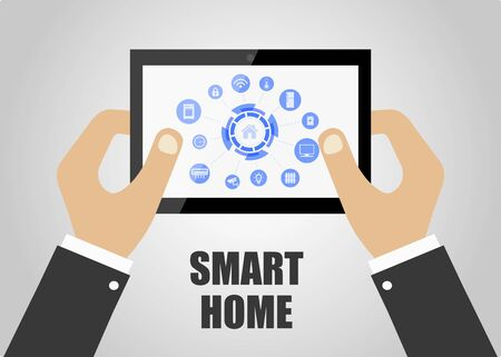 Smart house. Smart home security automation system concept. Gray background. Vector illustration Stock Illustratie