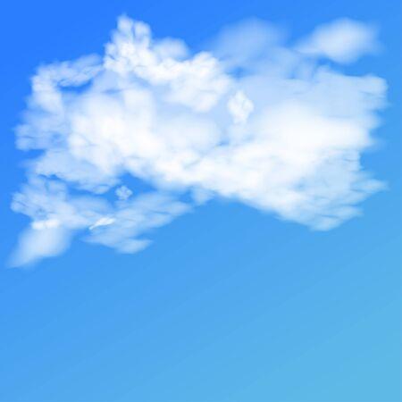 Realistic clouds, sky symbols. Blue background. Vector illustration 일러스트