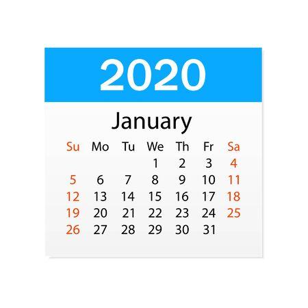 Calendar of January 2020. Personal organizer. Tear-off calendar. White background. Vector illustration
