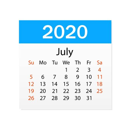 Calendar of July 2020. Personal organizer. Tear-off calendar. White background. Vector illustration