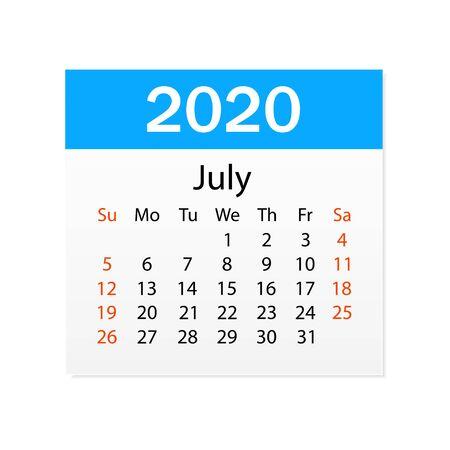 Calendario de julio de 2020. Organizador personal. Calendario de corte. Fondo blanco. Ilustración vectorial Ilustración de vector