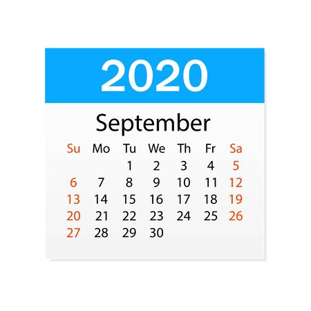 Calendar of September 2020. Personal organizer. Tear-off calendar. White background. Vector illustration