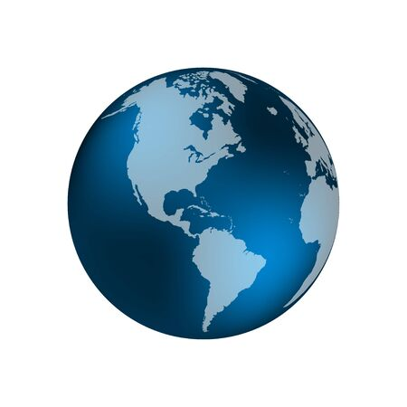Planet Earth. The Earth, World Map on white background. Vector illustration Stock Illustratie