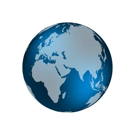 Planeta Ziemia. Ziemia, mapa świata na białym tle. Ilustracja wektorowa
